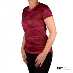 Puma Camiseta RUN GRAPHIC SS TEE Persian Red Camuflaje granate Mujer