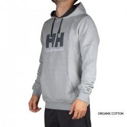 Helly Hansen Sudadera Con Capucha HH Logo Hoodie Grey Melange Gris Jaspeado Hombre