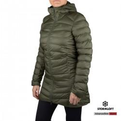 Salomon Abrigo Sight Storm Hoodie Essential XWarm Long olive night verde Mujer